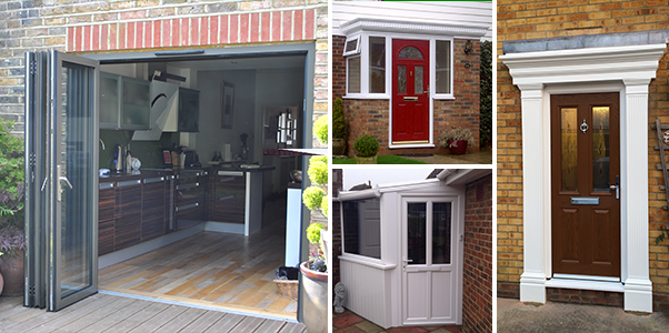collage of photos of bi-folding doors, composite doors, uPVC doors and timber doors installed by Worthing Windows