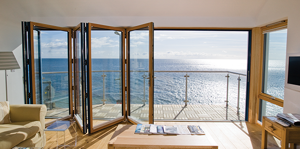 Bi Fold Doors overlooking the sea by Worthing Windows
