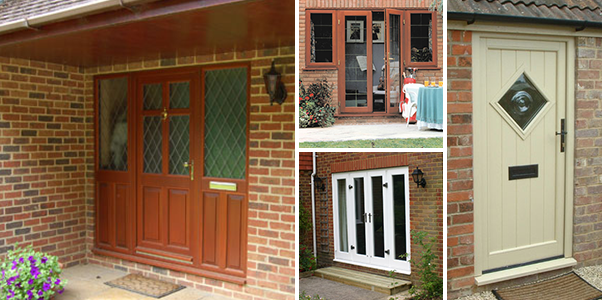 Selection of Timber front doors and french back doors installed by Worthing Windows