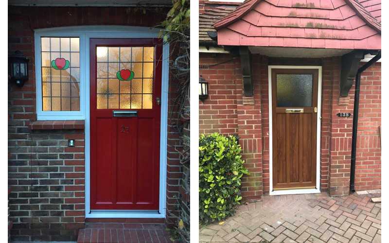 Red Timber Alternative Door (replica Timber) and wood effect replica timber door installed by Worthing Windows