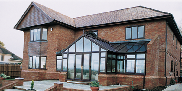 Aluminium Conservatory and Double Glazing on Large Detached house installed in Worthing, West Sussex