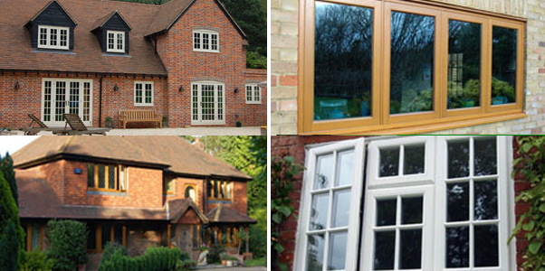 Collage of photos of our timber windows installed on West Sussex houses by Worthing Windows