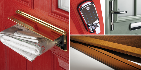 Composite Door Hardware Options, Red Composite door with gold letterbox and security keypad lock - available in Worthing & West Sussex
